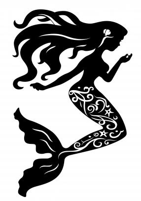 Mermaid Silhouette Free Vector Png 286 408 Pixels Schattenbilder Scherenschnitt Bucher Falten