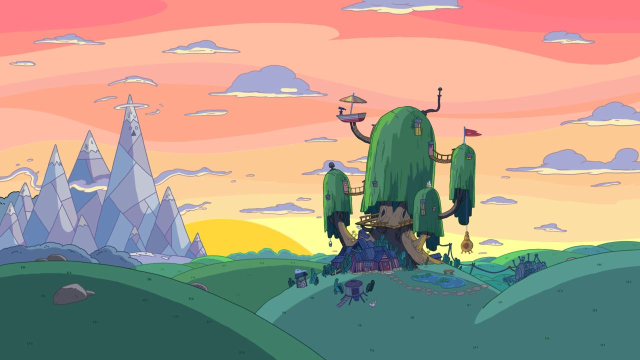 Adventure Time Background Art Landscape With The Tree House In Foreground Ice King Adventure Time Wallpaper Adventure Time Background Adventure Time Pictures