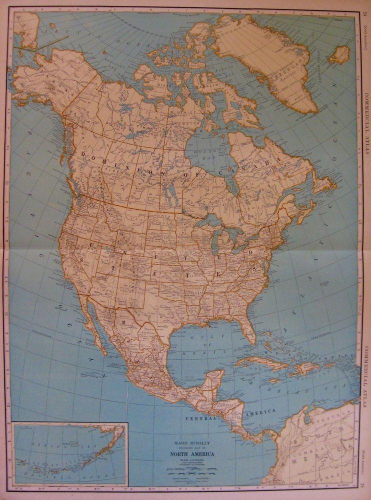 1930 Antique North America Map Original Vintage Rare Poster Size Map ...