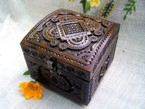 Wooden box Jewelry box Ring box Wood box Wood carving Wedding ring
