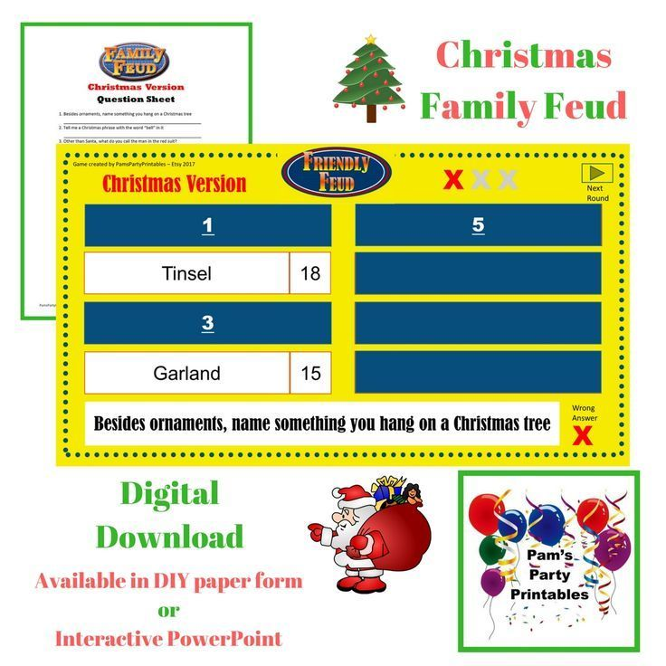 christmas themed family feud. available on etsy at pam's party, Powerpoint templates