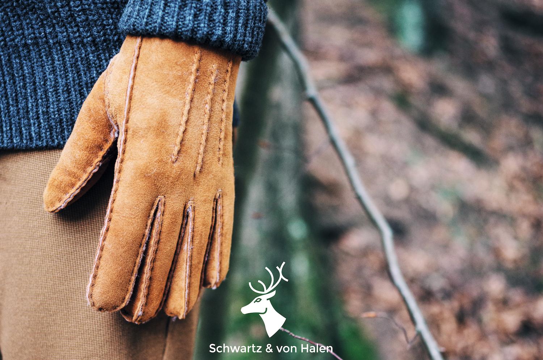 Dames handschoenen van suede en leer van Schwartz & von