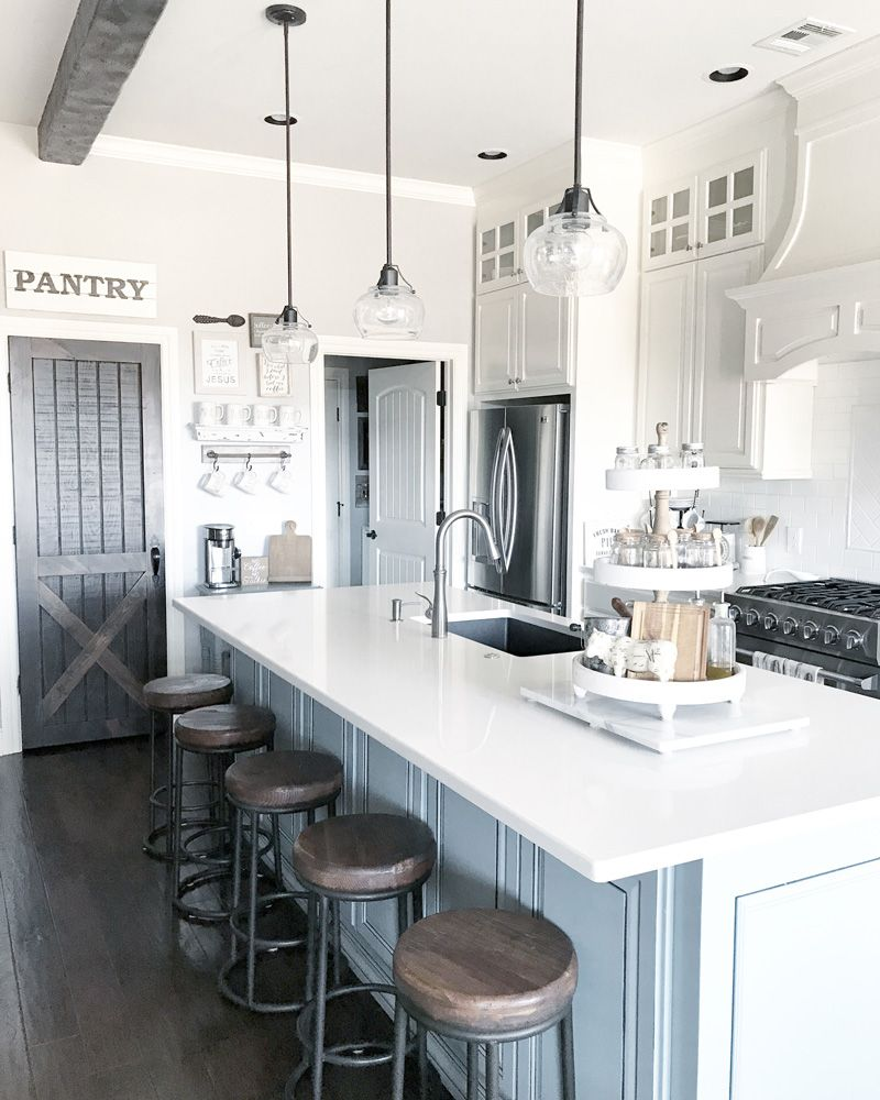 farmhouse kitchen style and design ideas with a pantry barn door ...