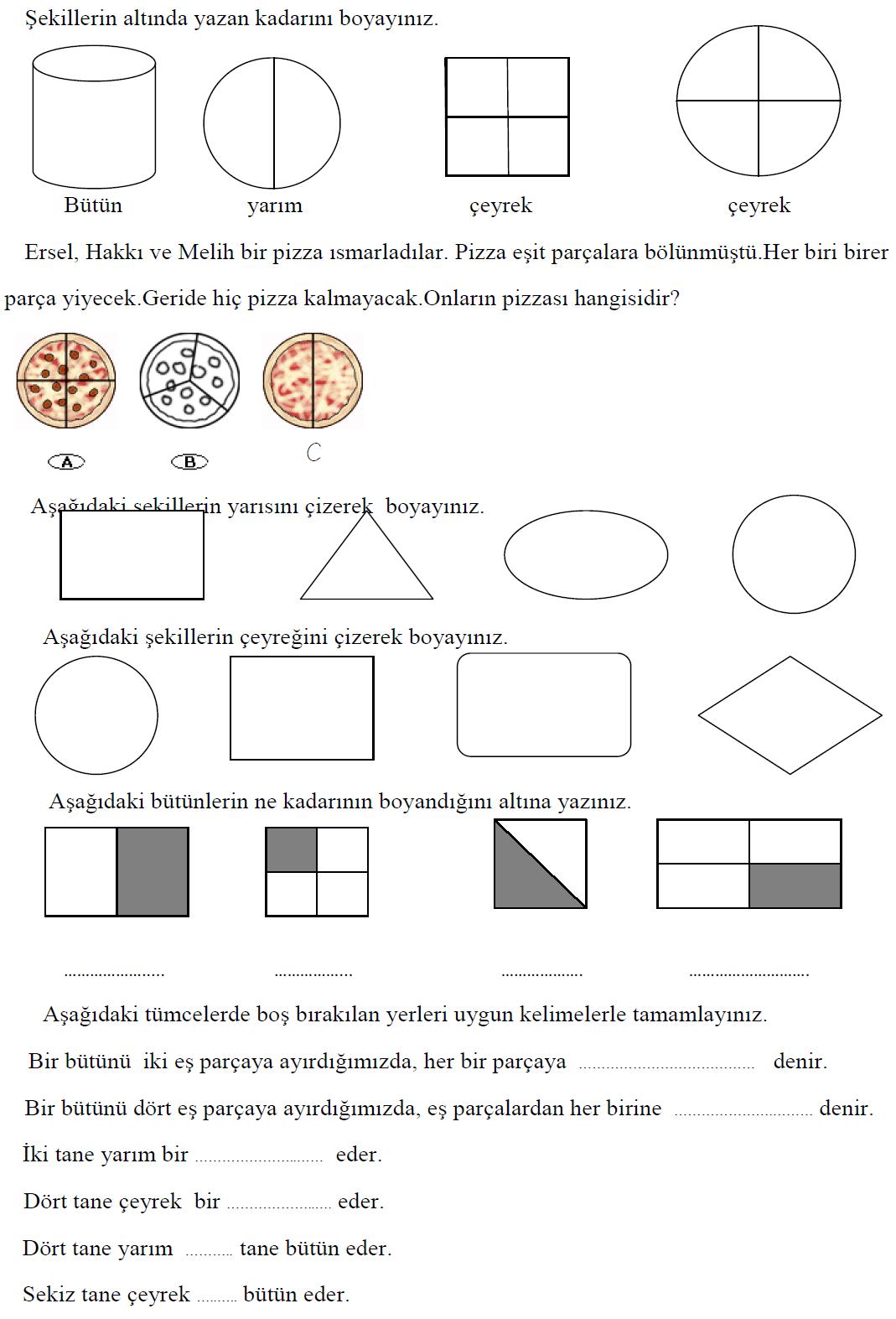 2 Sinif Matematik Etkinlik Ve Calisma Kagitlari Kesirler