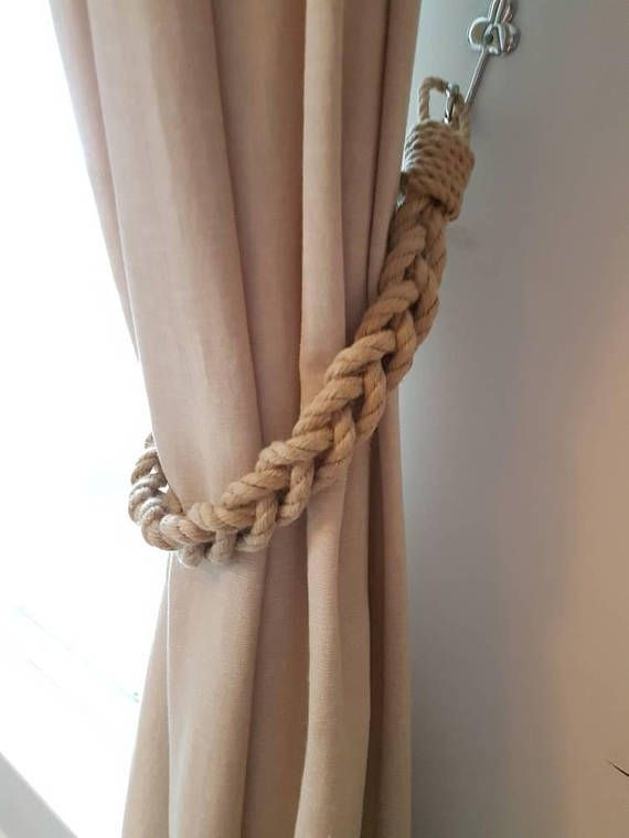 Chunky Beige Hemp Rope Braided Curtain Tie Backs Nautical Living