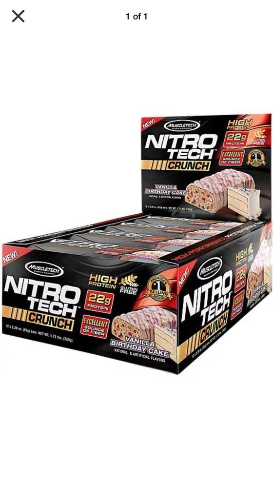 Muscle Nitro Tech Crunch Vanilla Birthday Cake Protein Bar 48 4 Cases