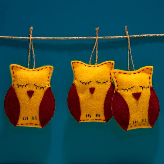 CYBER MONDAY DEAL 20% OFF!  Set of 3 Owl Ornaments  Yellow and Red by Fishtitch on Etsy, $20.00