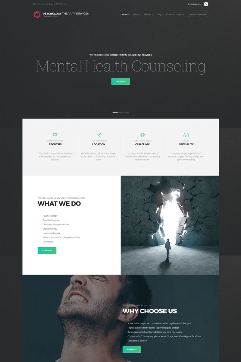 Pts Psychology Clinic Multipage Html5 Website Template Psychology Clinic Website Template Html5 Templates