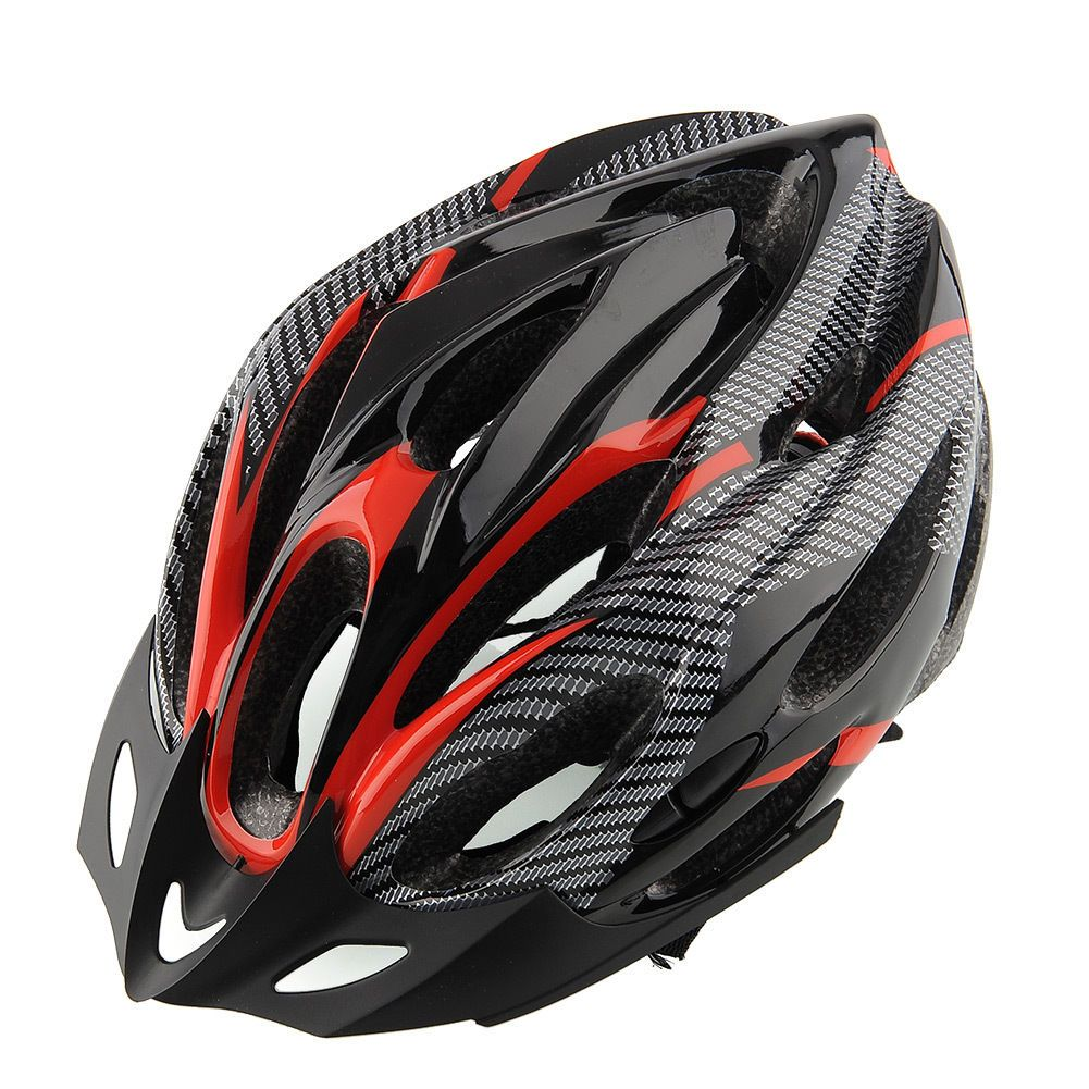 Cycling bicycle adult mens bike helmet red carbon color
