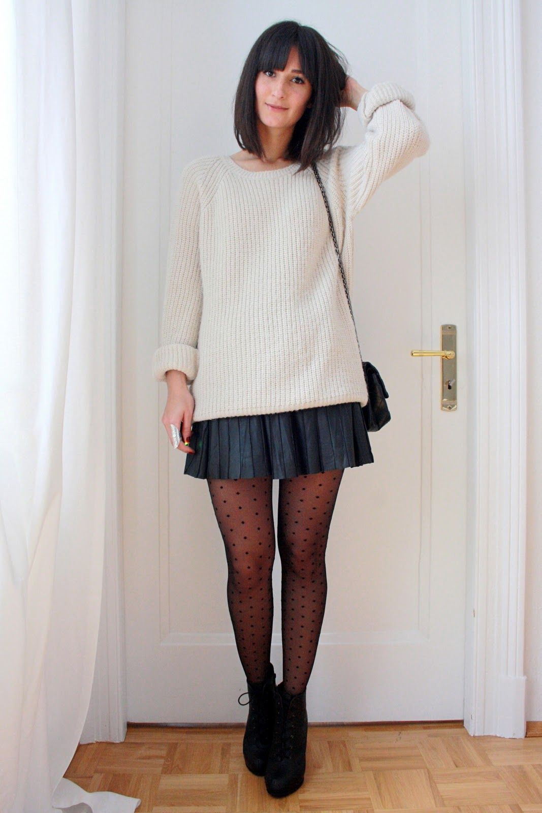 oversized sweater with skirt, cute. and i neeed dotted tights