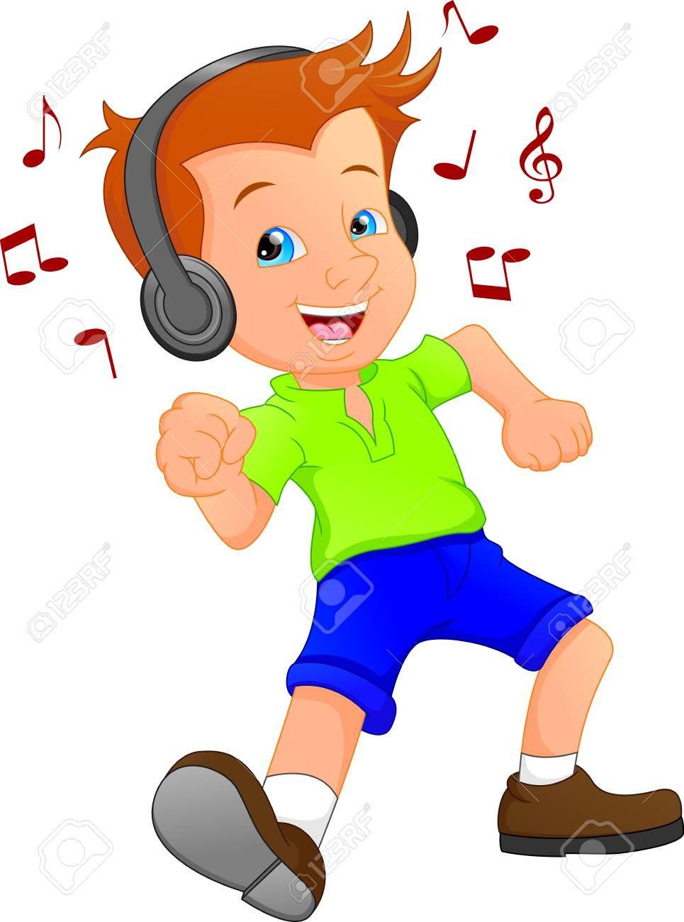 Un Nino Divertido De Dibujos Animados Escuchando Musica Y Bailando Foto De Archivo 90818384 Nino Escuchando Musica Escuchando Musica Ninos Bailando