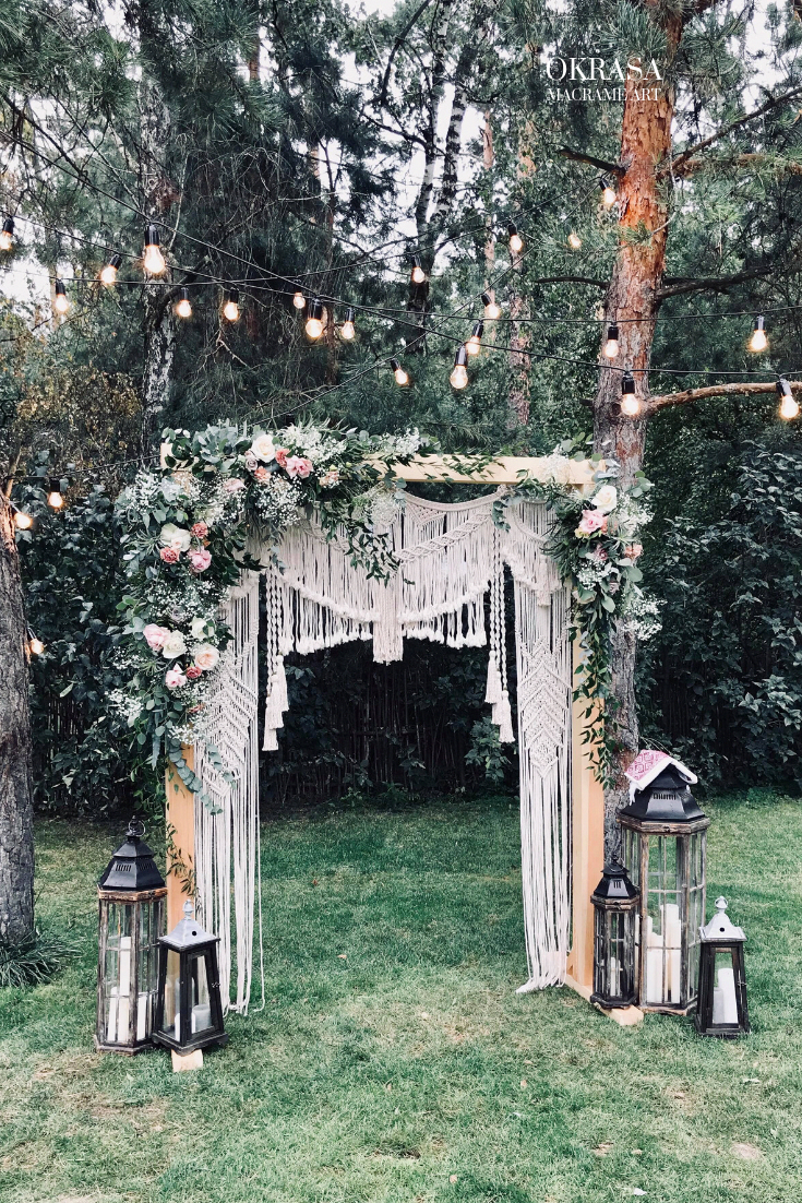 Bohemian Macrame wedding backdrop Macrame wedding arch Large | Etsy