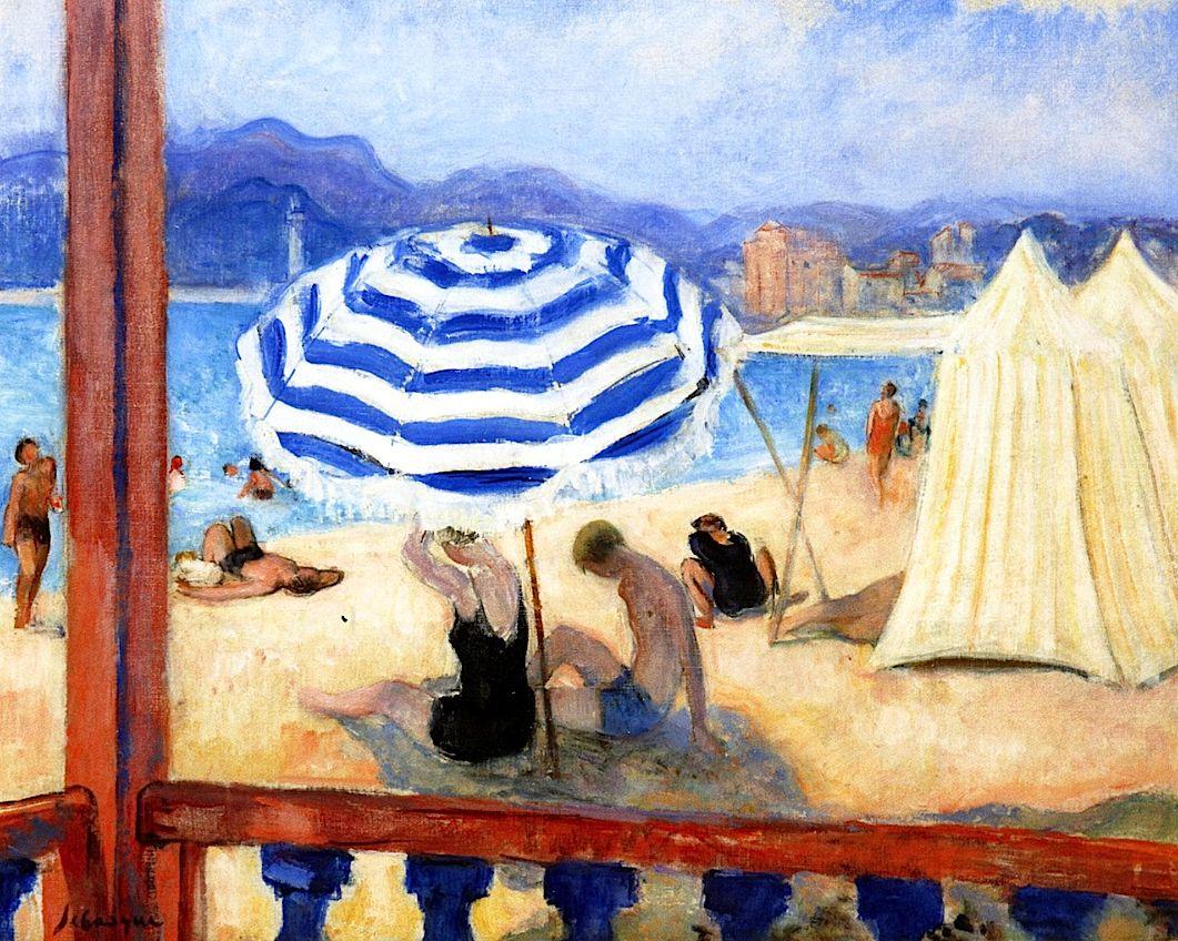 Cannes, Blue Parasol and Tents / Henri Lebasque