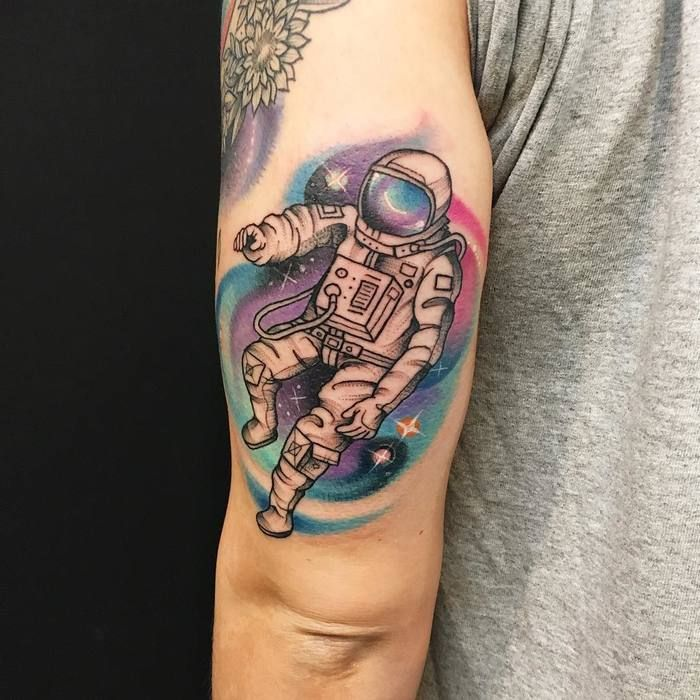 Space Tattoo Bright Colorful Space: 30 Cool Astronaut Tattoo Designs For Space Lovers