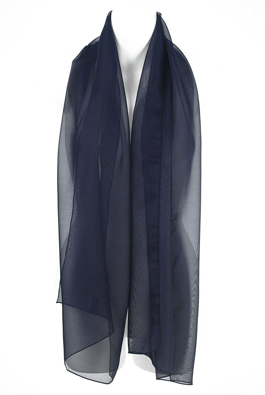 elegante e grazioso shop vendita professionale Sciarpa Elegante Blu Navy Chiffon, Scialle, Coprispalle ...