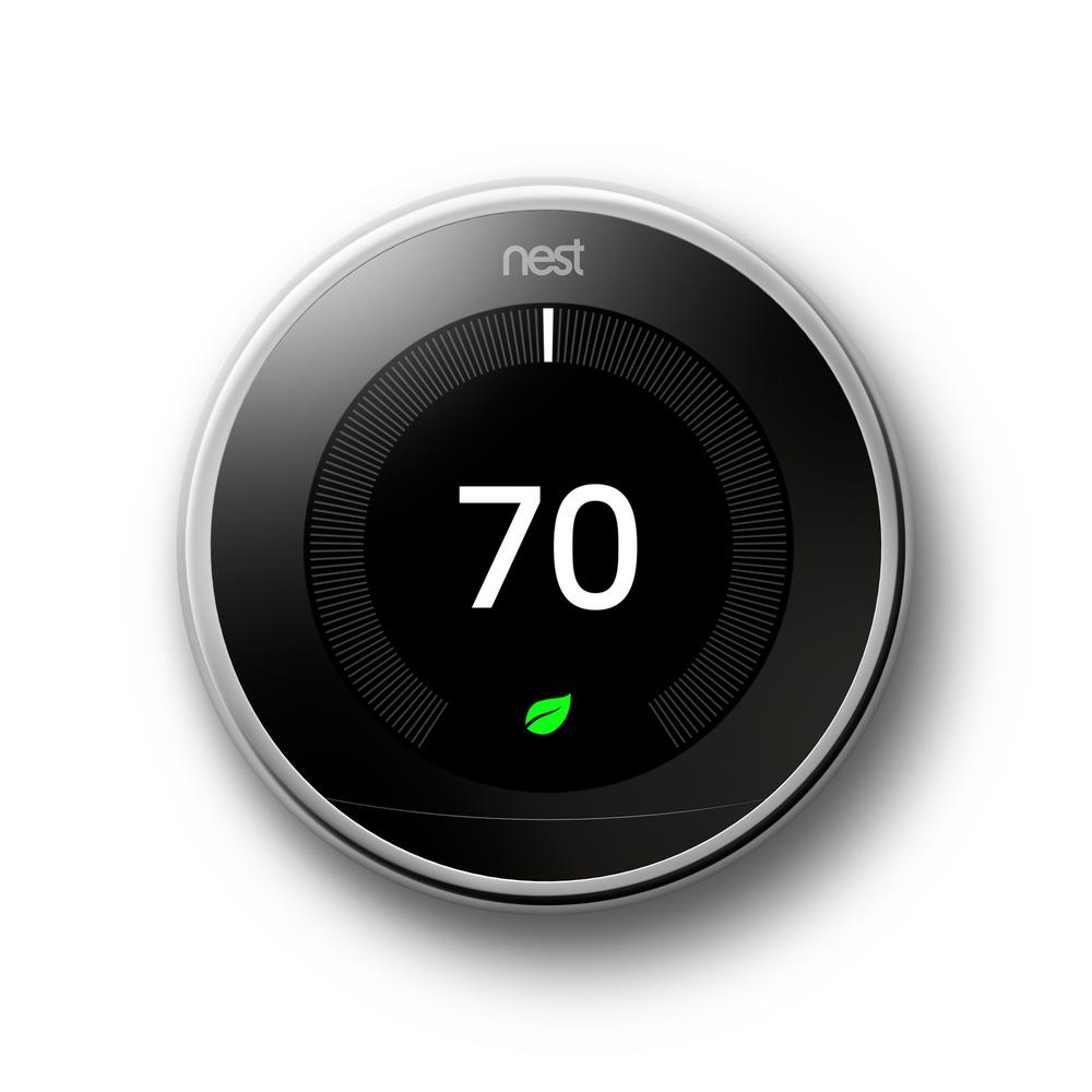 Google Nest Learning Thermostat 3rd Gen in Polished Steel