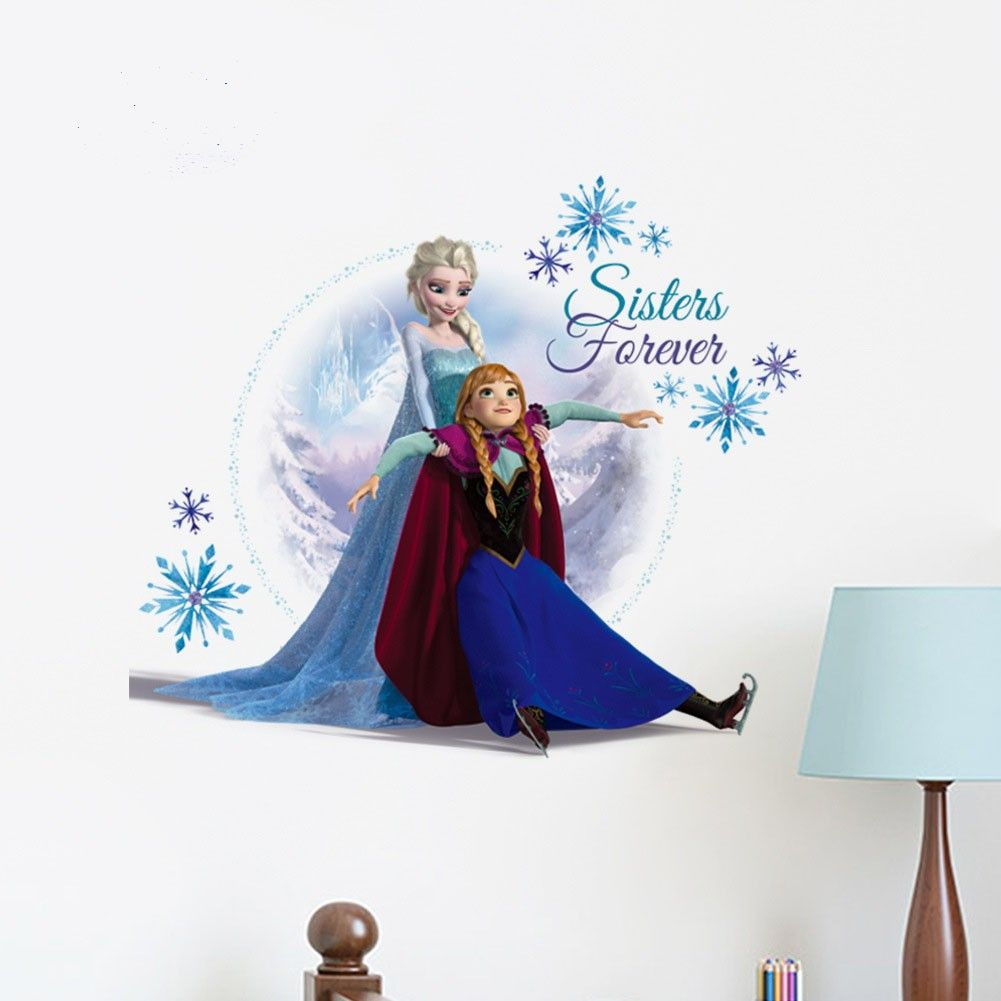 Frozen Cartoon Elsa And Anna Skiing Wall Decals Setting Wall Stickers   Frozen  Wall Decals