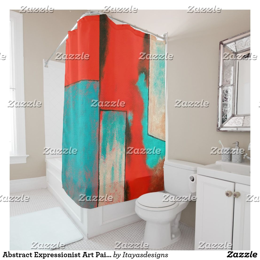 Red And Turquoise Shower Curtain. Abstract Expressionist Art Painting Red Turquoise Shower Curtain