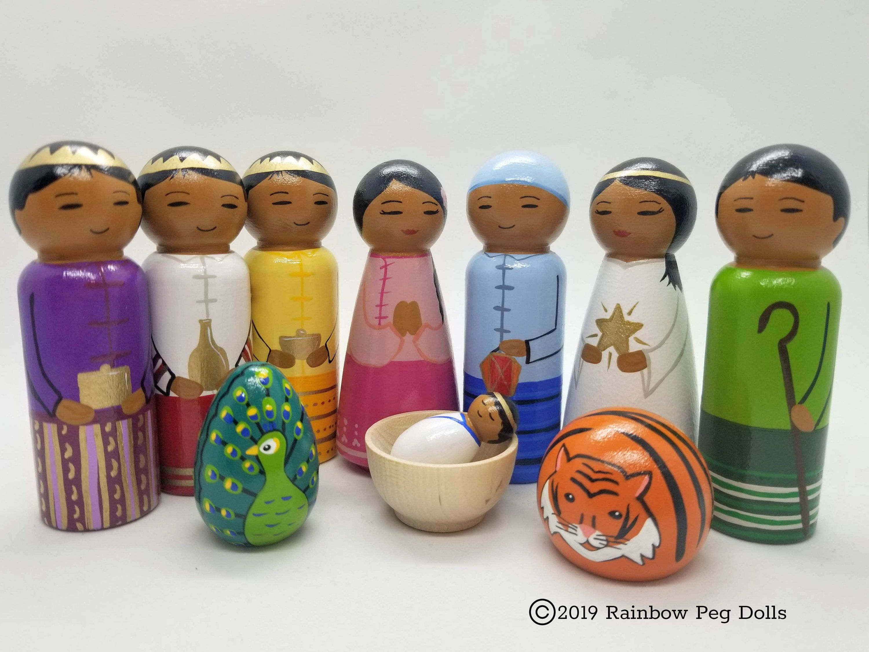 Set of 12 Rainbow Wood Peg Dolls Cake Toppers Party Supplies Dollhouse Decor