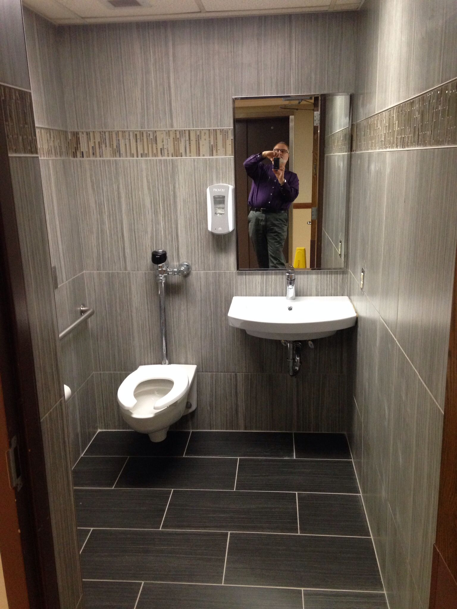 Public restroom retile remodel after picture design for Washroom renovation ideas