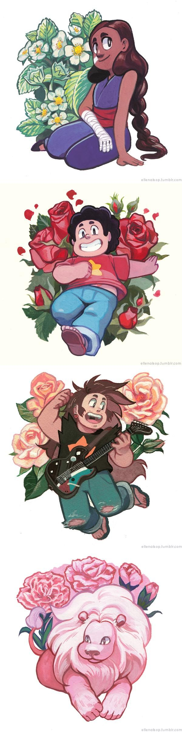 Steven Universe is a series that shows a view of family and relationships and strength that I aspire to. This fanart pays homage to botanical illustration.