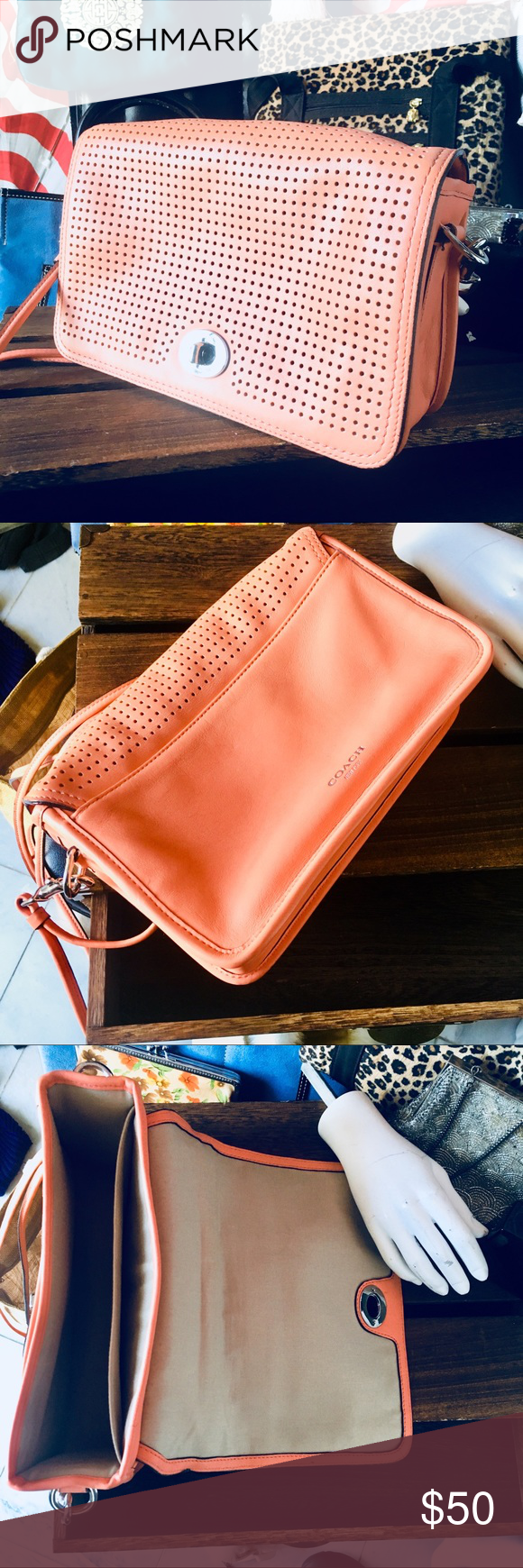 Coach legacy Penelope purse in coral color Coach legacy perforated legacy  Penelope penny shoulder purse in 8cdfba0609715