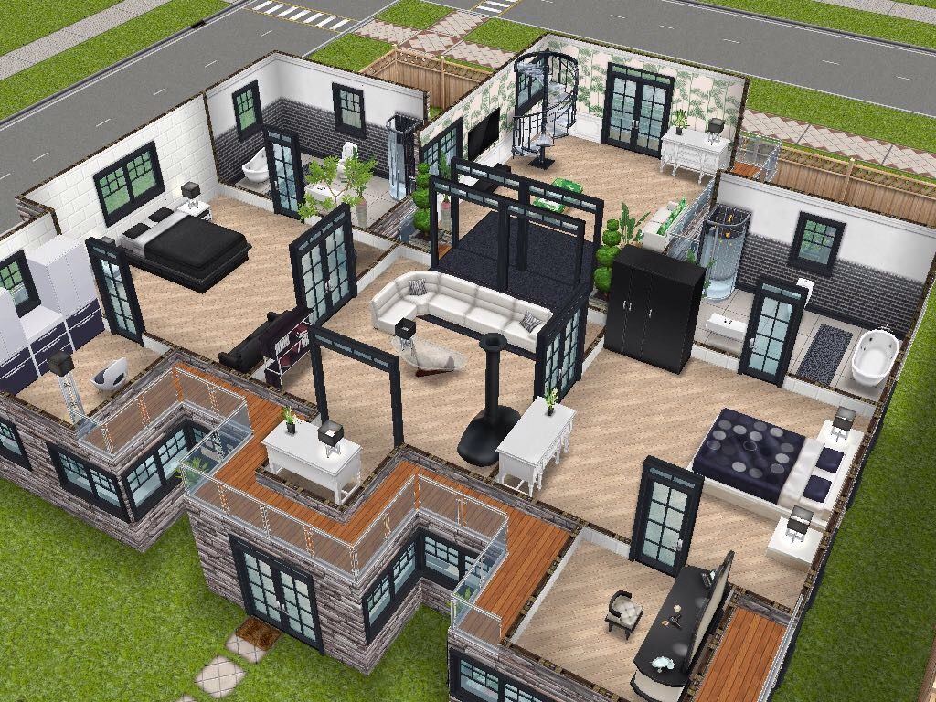 House 75 remodelled player designed house level 2 sims for Sims 2 house designs floor plans