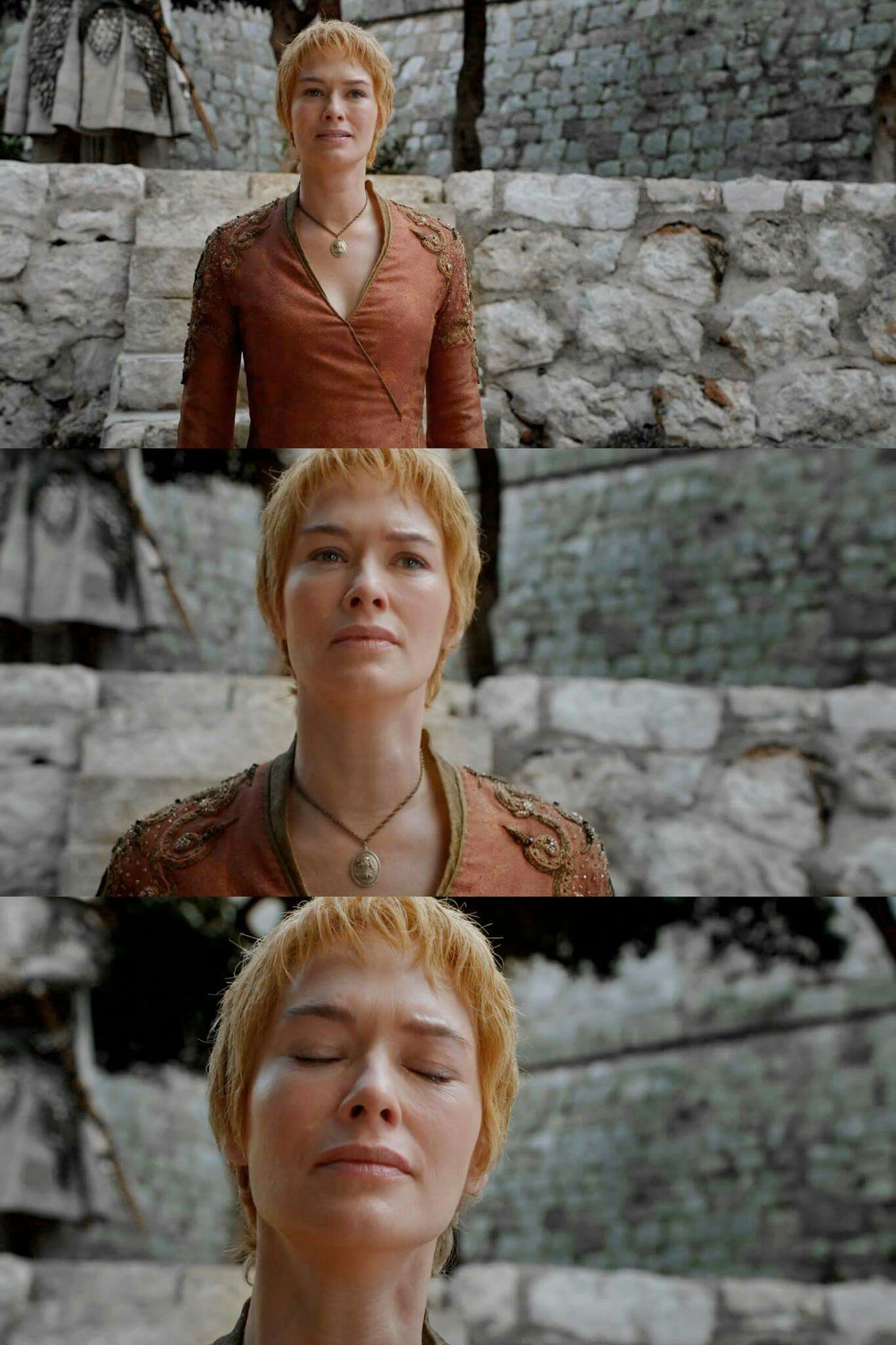 Cersei anticipating for her daughter but realising she has died. Amazing acting by Lena Headey