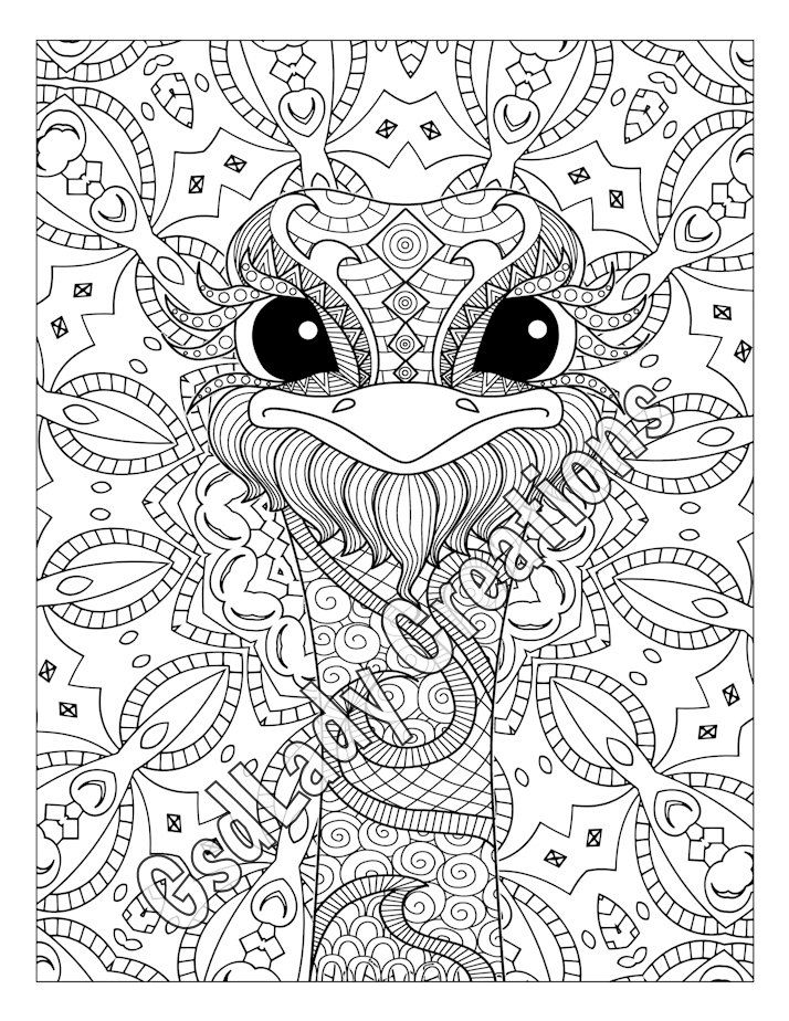 Ostrich, Animal Art Page To Color, Zentangle Animal, Zentangle ...