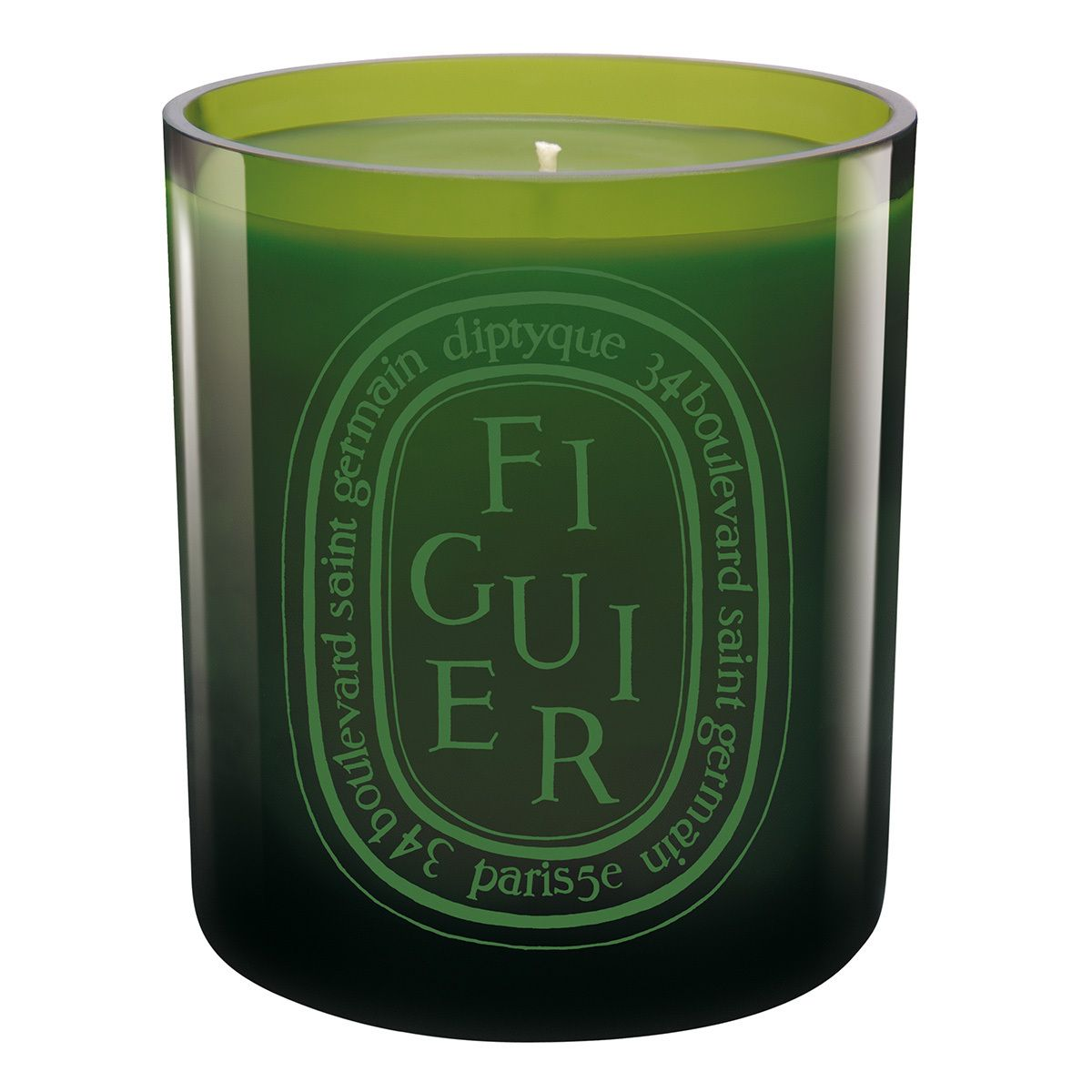 Green Figuier Candle by DIPTYQUE - Related to Diptyque's Philosykos Eau De Toilette, Figuier intensifies the fig tree's qualities: the warmth of the bark, the freshness of the leaves and the milky sap of its fruit. Poured in a stunning green glass jar, the Figuier Candle is a beautiful addition to any room.