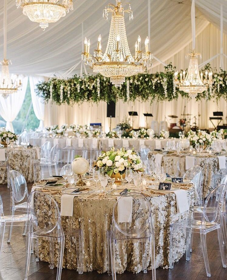 Opt For A Modern Wedding Set Up With Clear Chairs Sequin Table