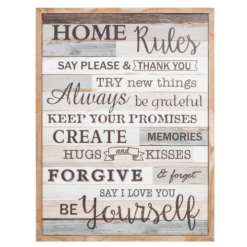 tableau en bois 50 x 65 cm home rules