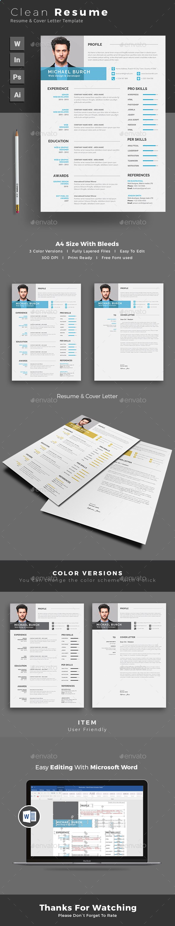 resume template psd  indesign indd  ai illustrator  ms