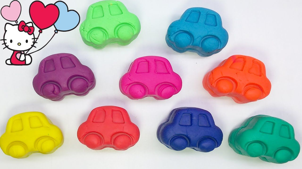 Play and Learn Colours with Playdough Cars with Hello Kitty & Animals Molds Fun  For Kids
