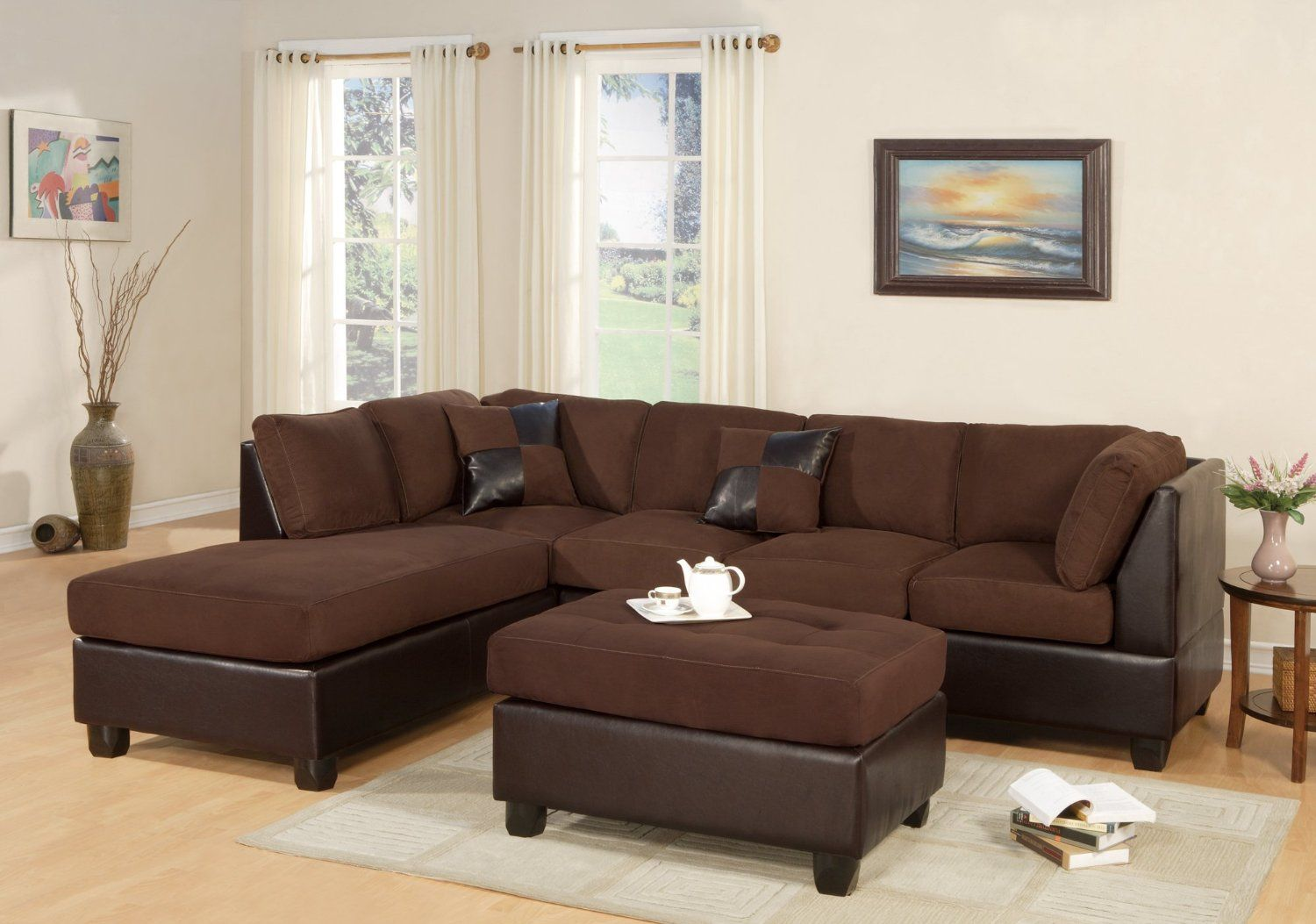 Bobkona Hungtinton Microfiber/Faux Leather 3 Piece Sectional Sofa Set,  Chocolate