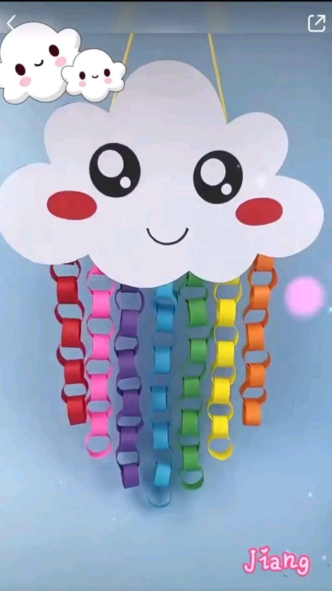 Paper Cloud Making For Kids  Beautiful Paper Cloud   Easy Craft Ideas DIY
