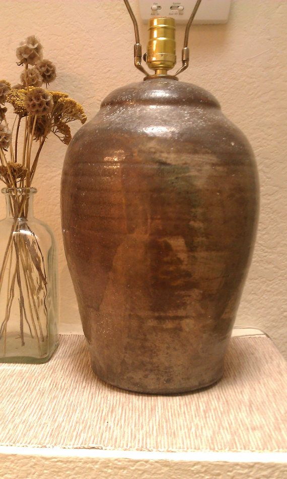 Vintage Raku Table Lamp Gray Copper Bronze Metal Glaze Metallic Handmade  OOAK Pottery Sheen Lighting