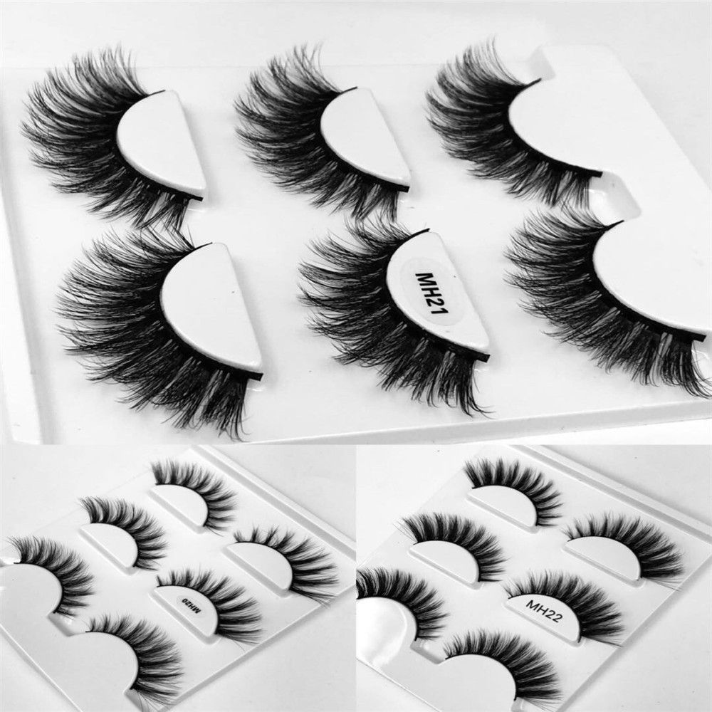 04e670bc6f2 HBZGTLAD 3 pairs natural false eyelashes fake lashes long makeup 3d mink  lashes eyelash extension mink eyelashes for beauty
