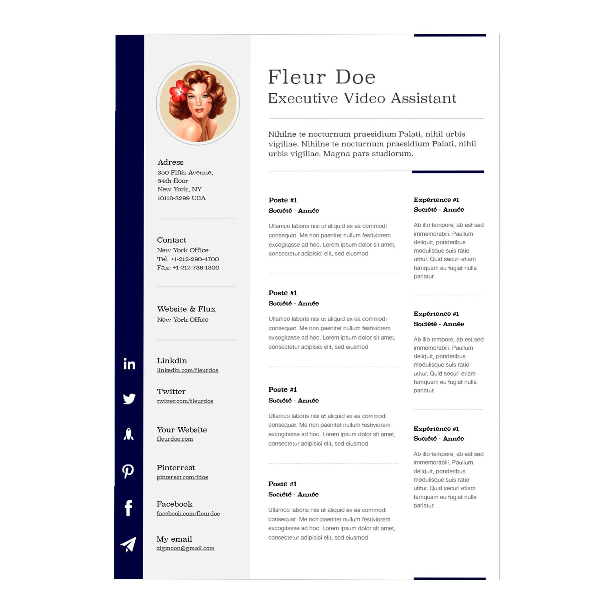 Cv Template For Pages One page resume template, Resume