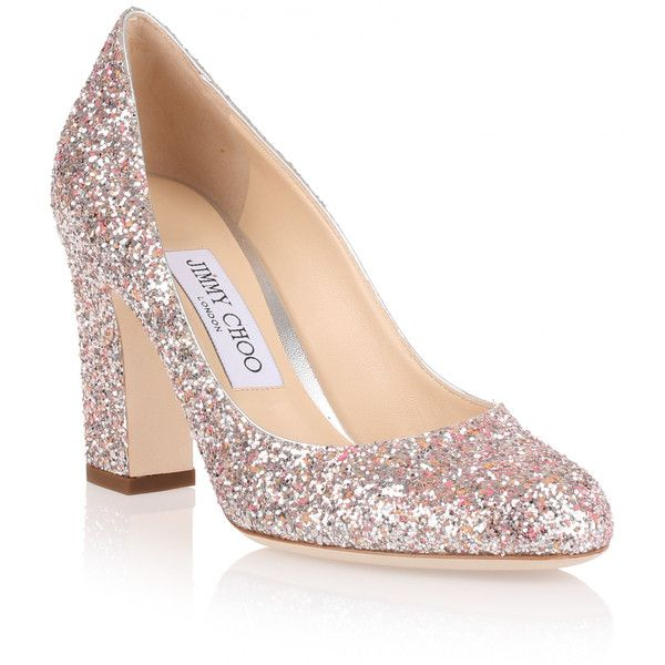 cbbaf077e31f Jimmy Choo Billie 85 Coral Coarse Glitter Pump ( 415) ❤ liked on Polyvore  featuring shoes