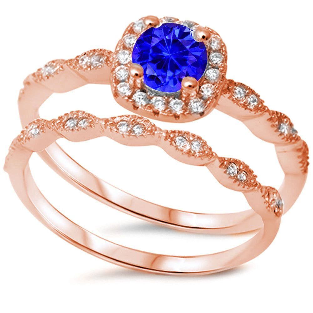 Rose Gold Vintage Wedding Engagement Ring Round Deep Blue Sapphire