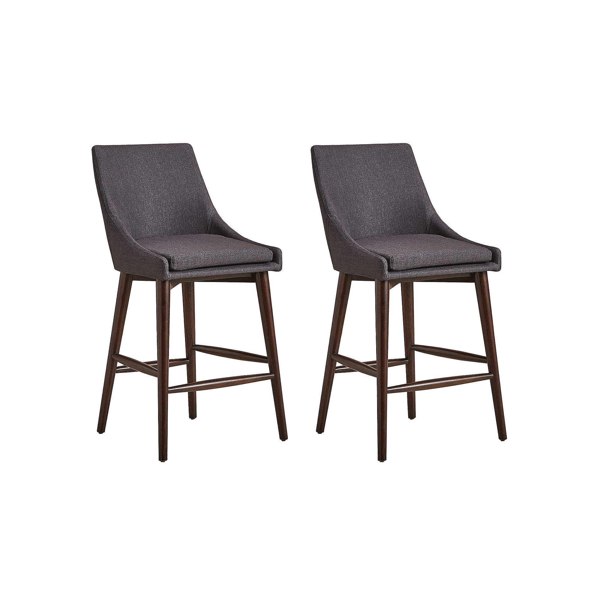 HomeVance Mid-Century Counter Stool 2-piece Set, Dark Grey