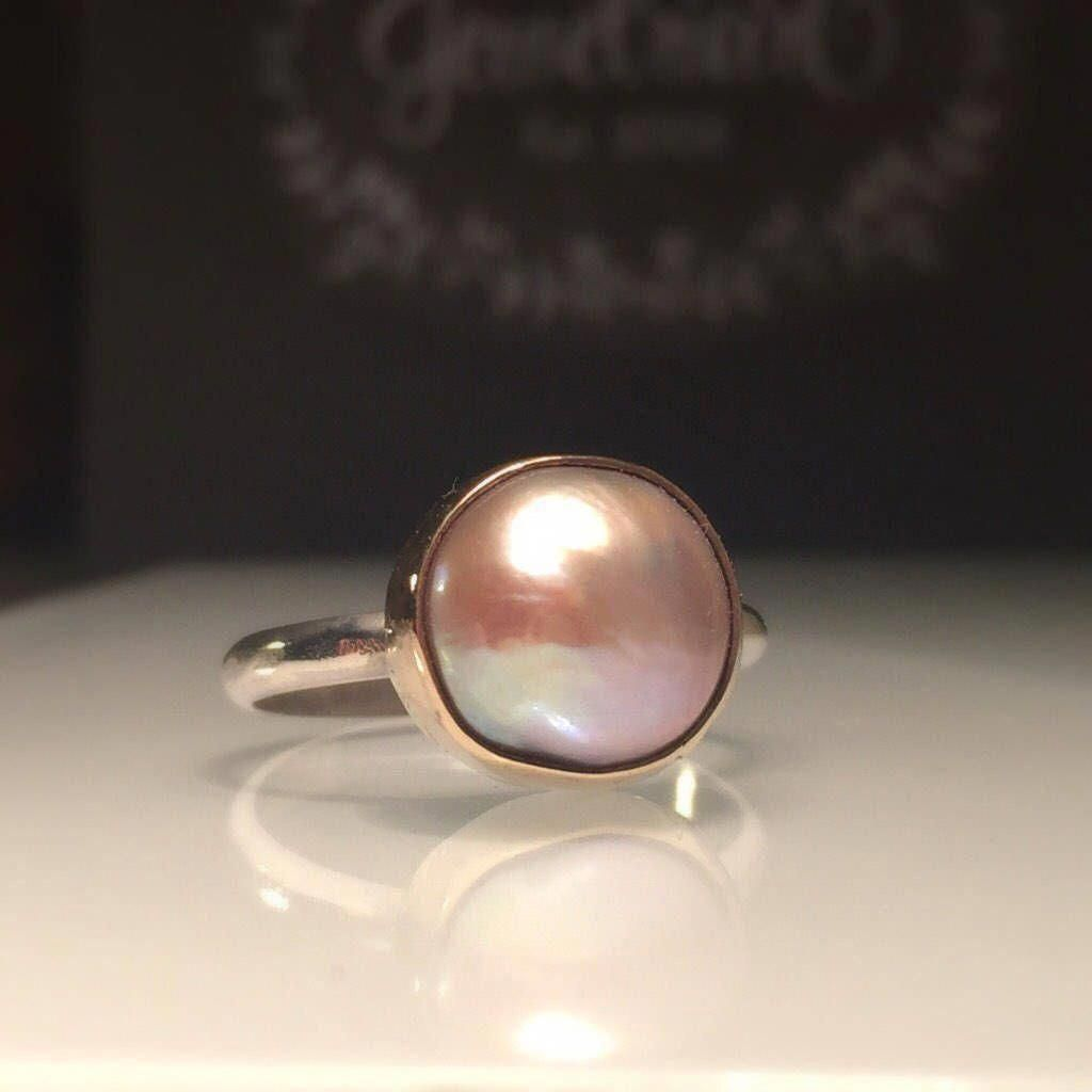 Excited to share the latest addition to my #etsy shop: Blush Gold Pearl Ring/Pink Pearl Ring/Solitare Pearl Ring/Blush Pearl Silver Statement Ring./Baroque Pearl Ring/June Birthstone/Gift for Her #jewelry #ring #pink #silver #pearl #lovefriendship #round #women #boho #statementrings #solitareengagementrings