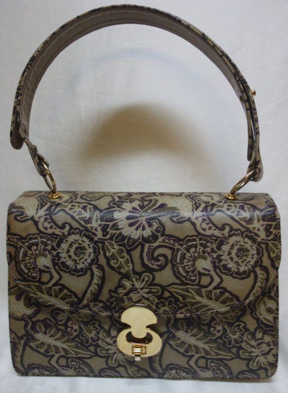 866c51a875cd Bags by VARON Vintage 60s Printed Leather Handbag Shoulder Bag ...