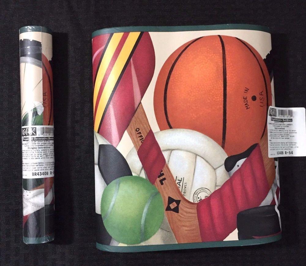 Wallpaper border, sports theme. 2 rolls, 5 yards x 10.5