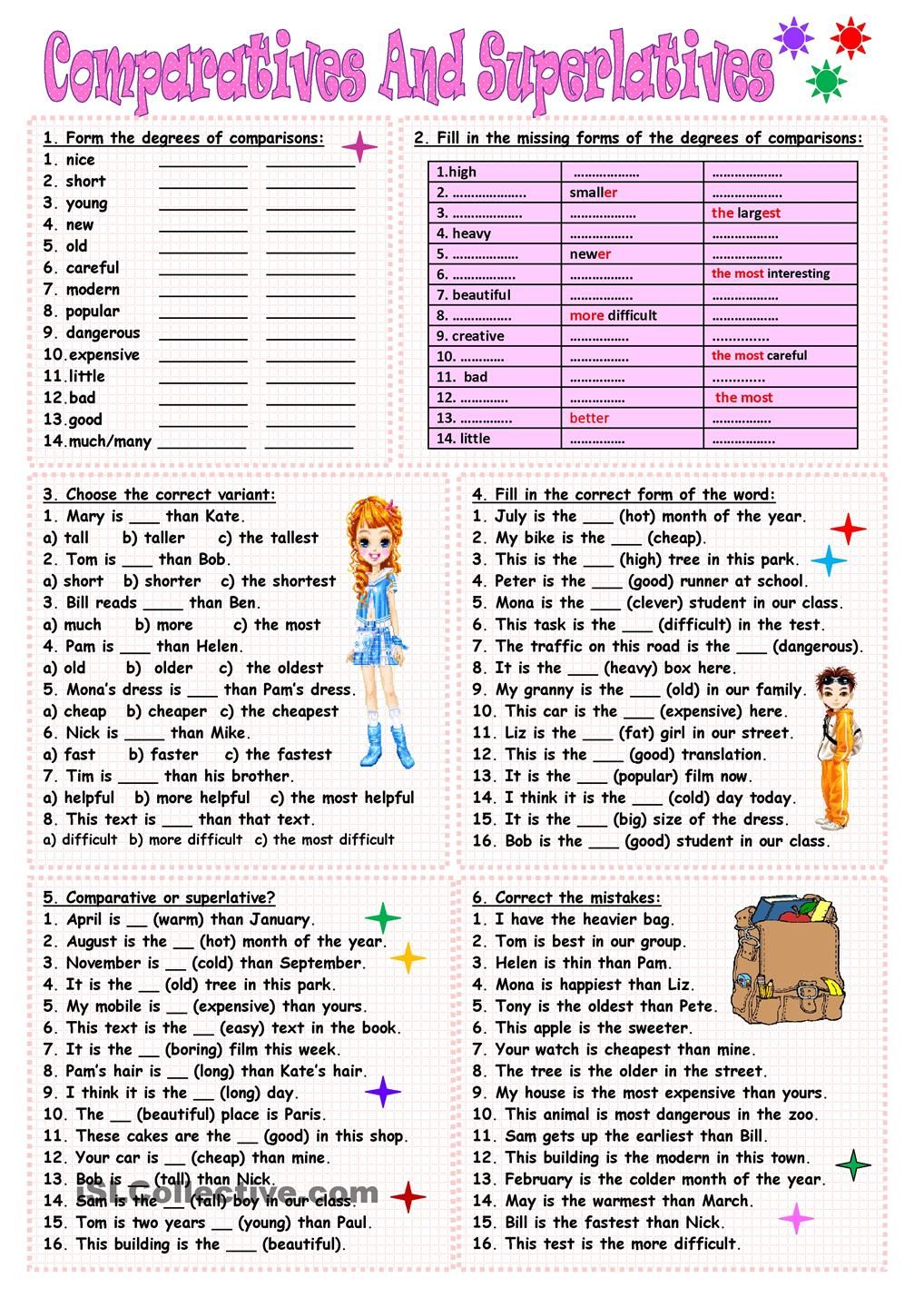 worksheet Degrees Of Comparison Adjectives Worksheet comparatives and superlatives english pinterest great drill skill worksheet to work on using the comparative superlative constructions useful checking understanding of the