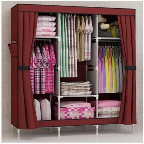 Artesanato Zona Norte Sp ~ Barato Grátis frete triplo portátil dobrar roupas guarda roupa armário armário gabinete Rack de