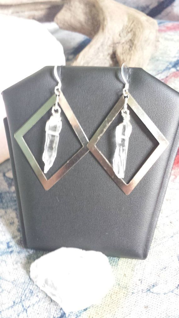 Wire Wrapped Quartz Point Earrings Raw by MysticRubyGardens, $16.00