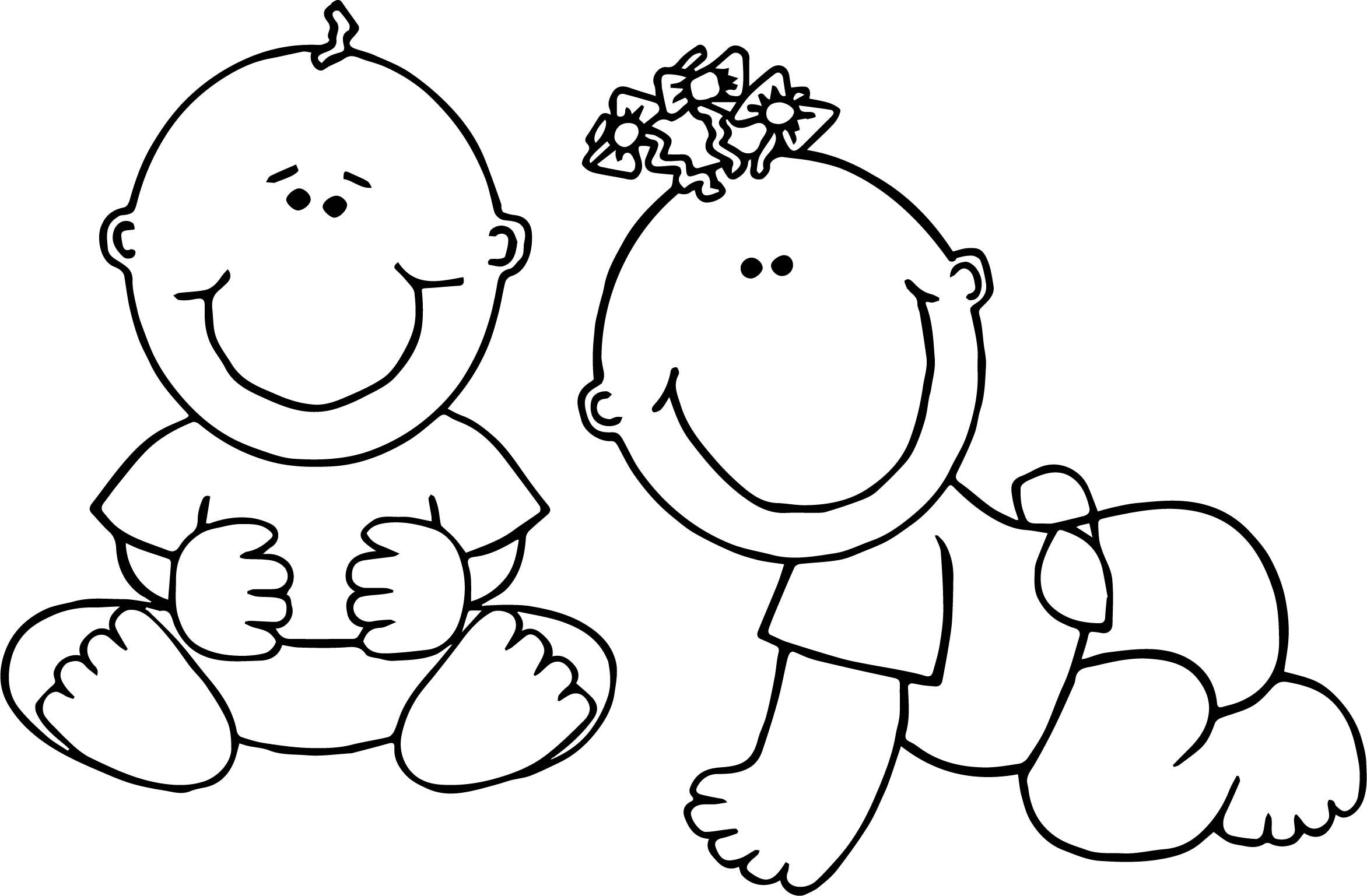 Cool Two Baby Boy Coloring Page