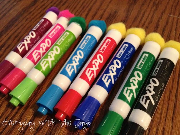 Pom Poms Glued To The End Of Dry Erase Markers Make Cheap And Effective Erasers Diy Classroom Classroom Organisation Classroom